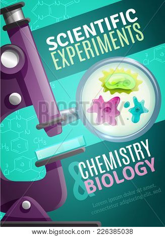 Scientific Chemistry And Biology Experiments Poster With Unicellular Organisms Under Magnifying Glas