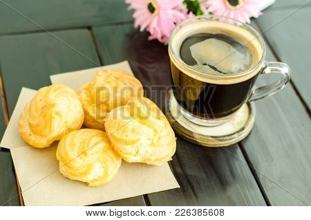 Breakfast With Choux Vanilla Cream And Hot Coffee