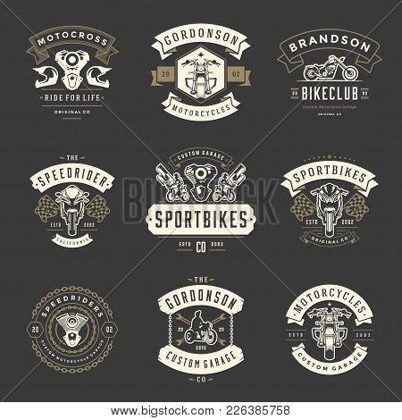 Motorcycles Logos Templates Vector Design Elements Set, Vintage Style Emblems And Badges Retro Illus