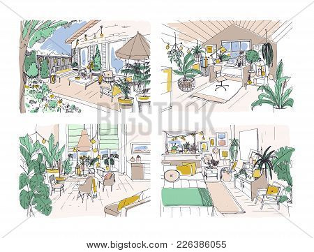 Collection Of Colored Freehand Drawings Of Cozy Apartment Furnished In Scandinavian Hygge Style. Set