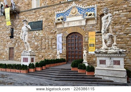 Florence, Italy - September 17, 2017: Entrance To Palazzo Vecchio In Florence; The Main Point Of The