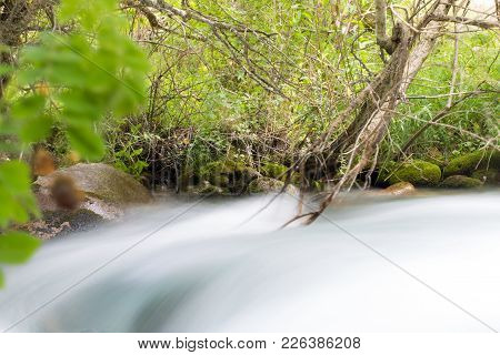 Water In The Mountain River . In The Park In Nature