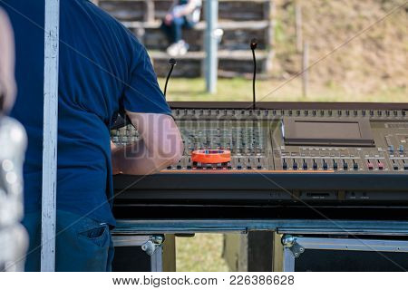 Professional Audio Sound Mixer Music Control With Technician, Electronic Device In Outdoor Concert.