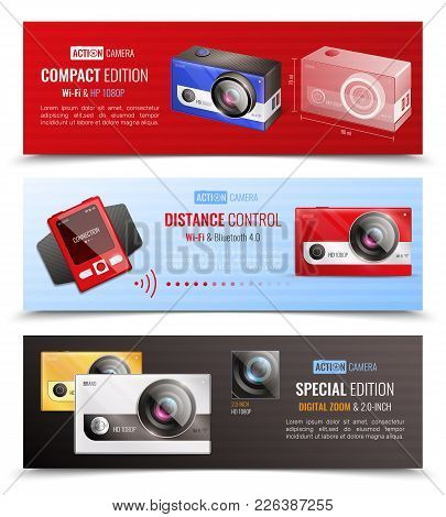 Action Camera Horizontal Banners Set With Distance Control Symbols Realistic Isolated Vector Illustr
