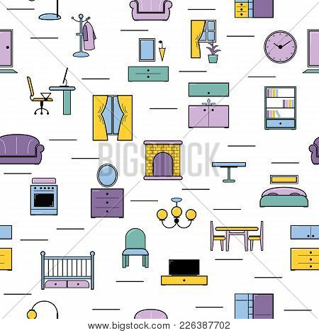 Furniture Seamless Pattern Vector Furnishings Design In Interior Of Bedroom Or Living Room With Sofa