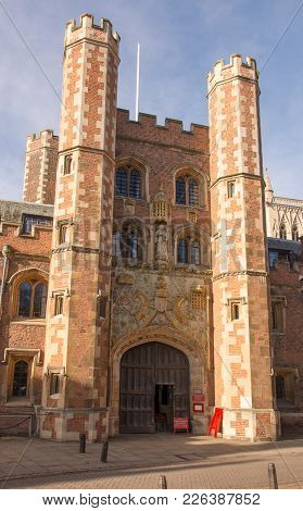 St John's College Great Gate, Cambridge, February 12 2018 Showing Ornate Carvings And Figurines