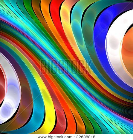 abstract fractal rendering soft rainbow lines