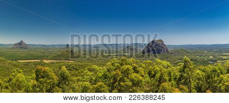 Panoramic view of Glasshouse Mountains on the Sunshine Coast from Beerburrum, Queendsland, Australia