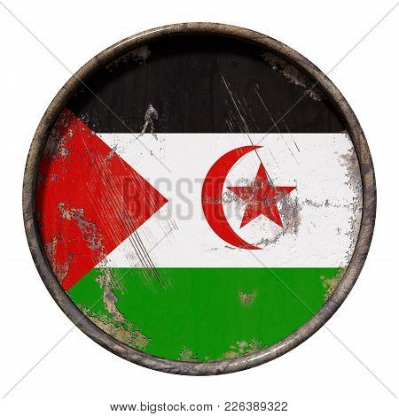 3d Rendering Of A Sahrawi Arab Democratic Republic Flag Over A Rusty Metallic Plate. Isolated On Whi