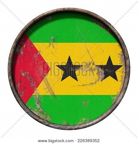 3d Rendering Of A Democratic Republic Of Sao Tome And Principe Flag Over A Rusty Metallic Plate. Iso