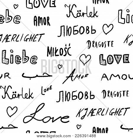Love Words Background - Seamless Texture With Love Word In Various Languages.