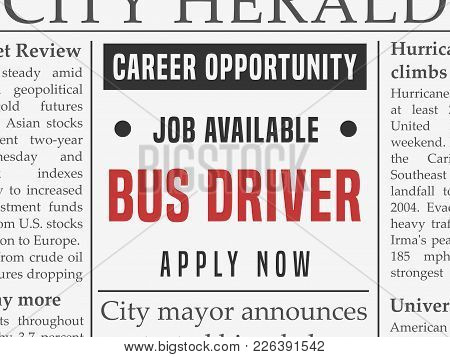 Bus Driver Career - Job Classified Ad Vector In Fake Newspaper.