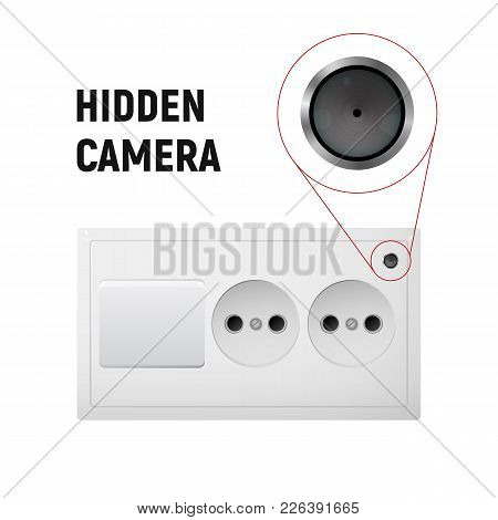 Hidden Camera In An Electrical Outlet. Inconspicuous Lens. To Observe People In The Office. Micro Sp