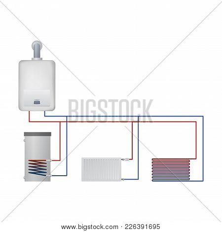 Equipment Condensate Boiler. Vector Illustration. Boiler Hot Water, Floor Heating, Radiator