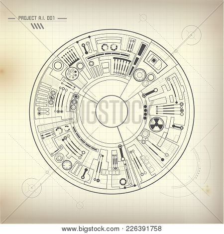 Abstract Futuristic Background, Technological Eye Drawing, Technological Blueprint
