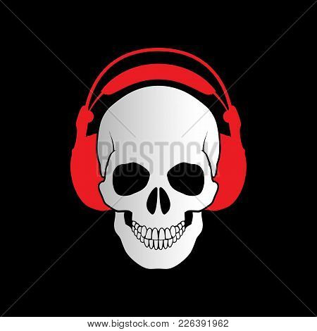 Simple Illustration Of Human White Skull With Headphones On Black. Music Skull Logo. Sound Studio Lo