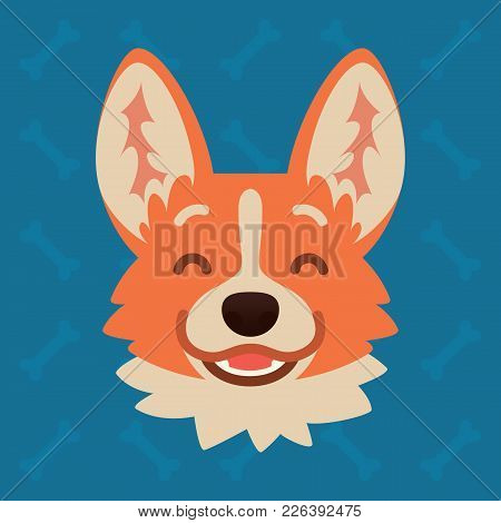 Corgi Dog Emotional Head. Vector Illustration Of Cute Dog In Flat Style Shows Happy Emotion. Laugh E