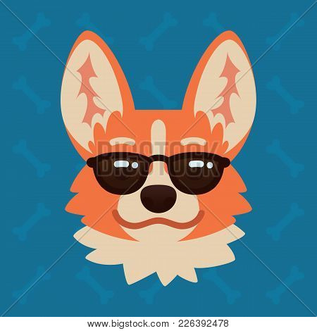 Corgi Dog Emotional Head In Sunglasses. Vector Illustration Of Cute Dog In Flat Style Shows Emotion.