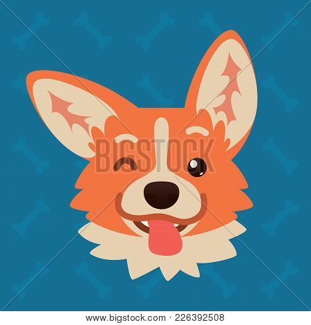 Corgi Dog Emotional Head. Vector Illustration Of Cute Dog In Flat Style Shows Playful Emotion. Blink