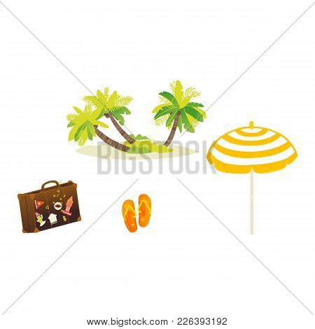 Vector Flat Travel, Beach Vacation Symbols Icon Set. Summer Holiday Rest Elements - Palm Sand Island