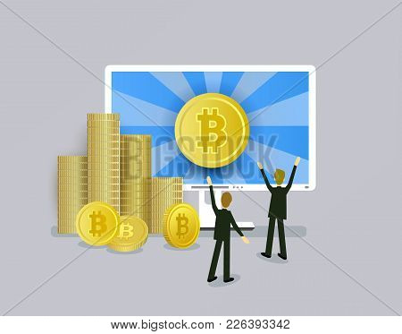 Bitcoin Concept Businessmen, Computer And Stacks Of Coins, Vector Illustration Isolated On White Bac