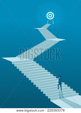 Businessman Walking Up Stairs To Goal, Business Concept Simple Vector Of Overcome Obstacles To Succe