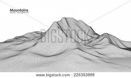 Vector Illustration: Wireframe Mountains Landscape On White Background.