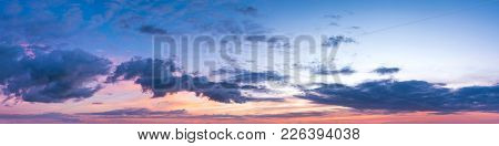 Vibrant Panoramic Sky On Twilight Time. Beautiful Cloud. Panorama High Resolution Photograph.