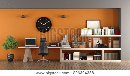 Modern Home Workplace With Desk , Bookcase And Orange Wall - 3d Rendering