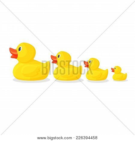 Adorable Rubber Ducks In Row From Big To Small. Bright Yellow Birds With Red Beaks To Have In Bathro