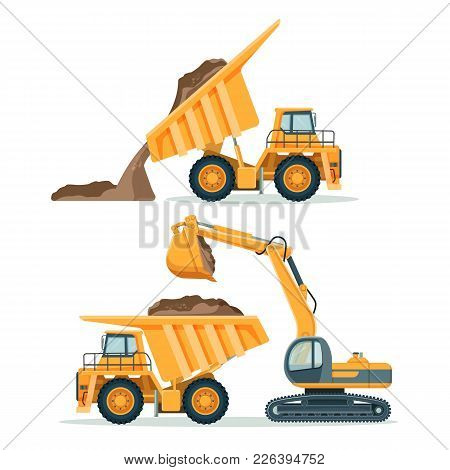 Dump Truck With Body Full Of Soil And Modern Excavator. Load And Unload Process Of Big Yellow Indust