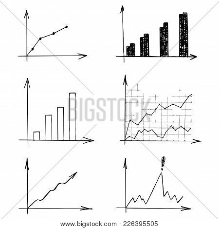 Graphs Vector Illustrations. Set Of Different Business Report In Black On A White Background.