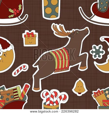 Greeting For Christmas. Presents, Candy And Reindeer Vector Illustration. Seamless Pattern Backgroun