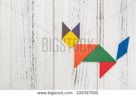 Wooden Tangram In A Fox Shape With Copy Space