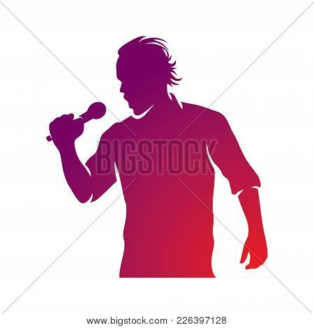 Superstar Performance Vector Illustration, Person With Microphone In Hand Is Singing Live Or Karaoke