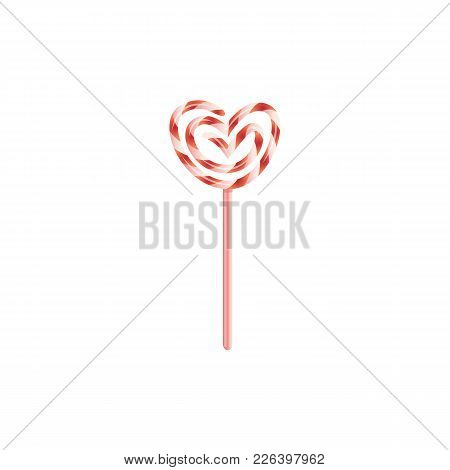 Vector Flat Heart Twisted Candy Lollipop Icon. Happy Valentines Day Romantic Invitation Card Design