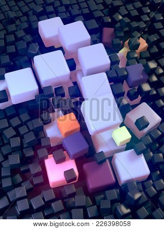 Abstract Landscape Of Three-dimensional Boxes Background. Large Colored Boxes Push Apart Others. 3d