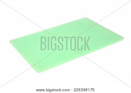 Empty Green Glass Cutting Board Isolated Over White Background