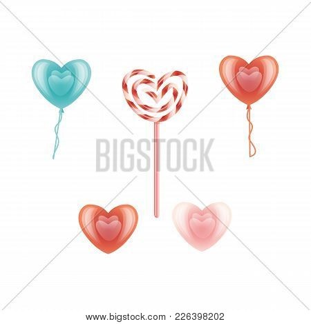 Vector Happy Valentines Day Heart Icon Set. Red, Blue Air Balloon, Candy Lollipop Heart Shape. Roman