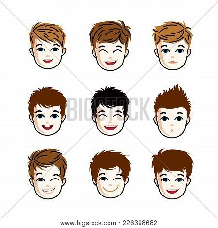 Collection Of Boys Faces Expressing Different Emotions Like Happiness And Making Some Grimaces, Vect