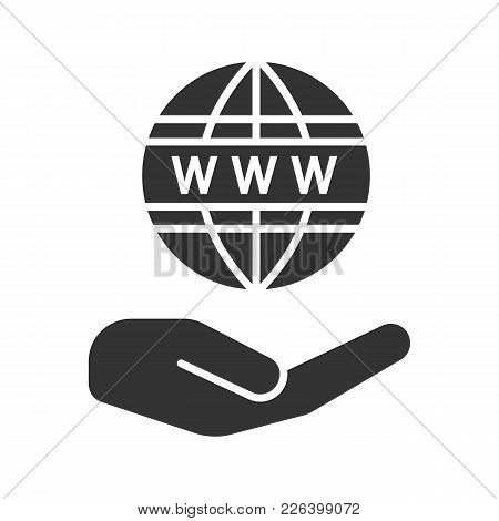 Open Hand With Www Symbol Glyph Icon. Free Internet Access. Silhouette Symbol. World Wide Web. Negat