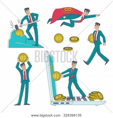 Cryptocurrency And Bitcoin Mining And Earning Set With Man, Businessman And Coin Icons, Flat Style V