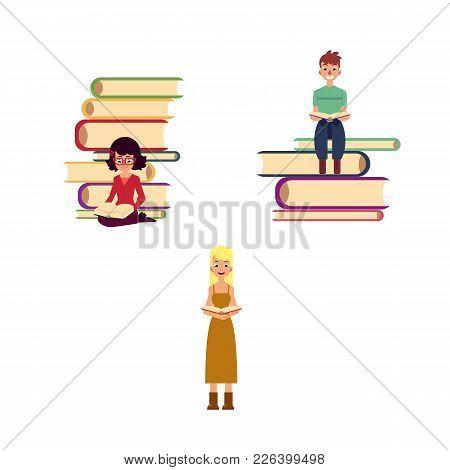 Vector Flat Adult People Reading Set. Beautiful Amazed Woman Dress Reading Book, Man, Girl Sitting A
