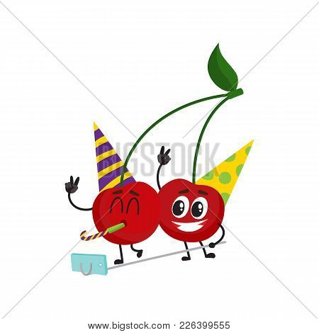 Two Funny Red Cherry Characters Wearing Birthday Hats, Making Selfie At Party, Cartoon Vector Illust