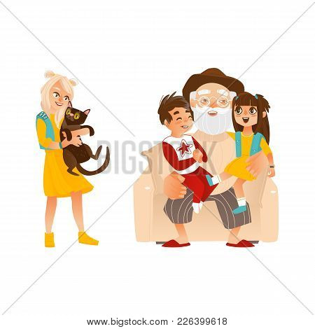 Vector Flat Family Hugging. Adult Woman Hugging Black Cat Pet, Elderly Senior Grandfather Hugging Bo