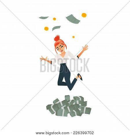 Happy Girl, Woman, Businesswoman Celebrating Success, Jumping, Dancing Under Money Rain, Flat Cartoo
