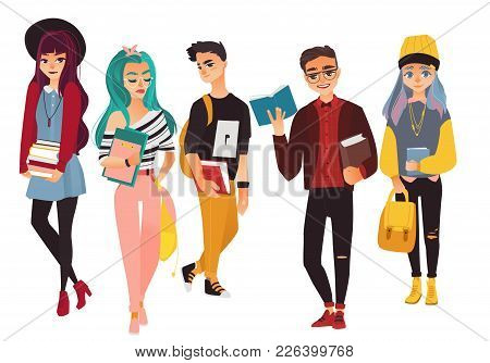 Set Of Modern, Hipster College, University Students, Boys And Girls, Flat Cartoon Vector Illustratio