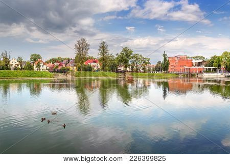 The Famous Pond Poplavok In Kaliningrad On A Summer Day. Russia.