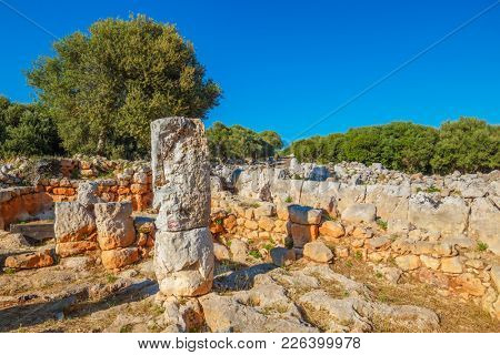 Torre d'en Gaumes or Galmes - Ancient Talayotic Town Ruins at Menorca Island, Spain.