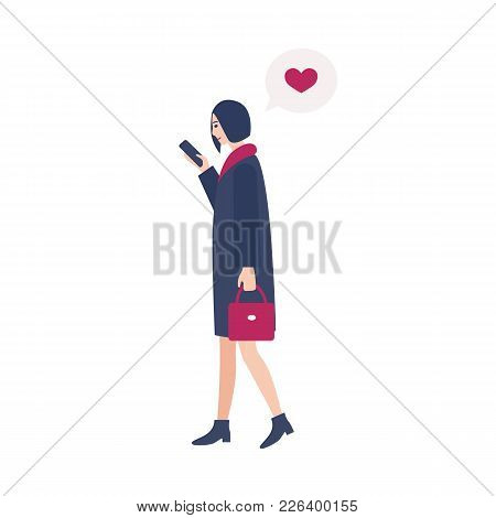 Young Woman Walking On Street And Checking Internet Messages In Social Networks On Her Smartphone. P